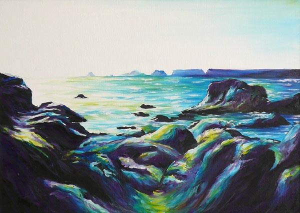 Mer et rochers, peinture a l'huile de laurence Menez ...